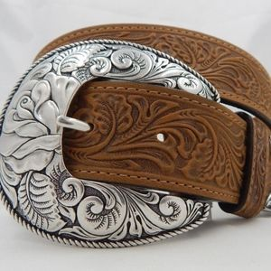Justin Top Grain Western Leather Tooled Belt Small